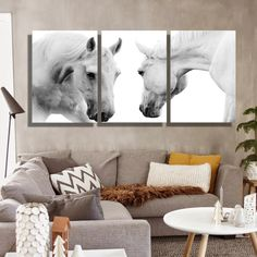 Oil Painting Canvas The White Horses Wall Art Decoration Painting Home Decor On Canvas Wall Pictures For Living Room (3PCS)