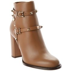 Valentino Valentino Rockstud Leather Bootie (394942001) ($1,035) ❤ liked on Polyvore featuring shoes, boots, ankle booties and brown