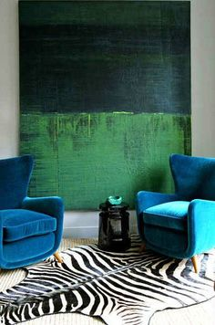 Big green art, 2 turquoise chairs - Anthony Todd from Gap Interiors. Photograph by Costa Picadas CPI Studios.