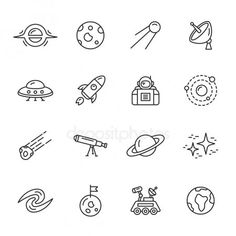 Space and astronomy thin line icons - Muster ⭐ - Space Drawings, Doodle Drawings, Easy Drawings, Doodle Art, Kritzelei Tattoo, Doodle Tattoo, Owl Tattoos, Fish Tattoos, Easy Drawing Tutorial