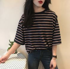 Striped T-Shirt Loose Sweet Casual For Women Harajuku Summer Short Sleeve T-shir. - Striped T-Shirt Loose Sweet Casual For Women Harajuku Summer Short Sleeve T-shirt Kawaii Funny T-shirt Ulzzang Tops Tees Source by emmakouseha - Korean Fashion Trends, Summer Fashion Trends, Korean Street Fashion, Korea Fashion, Asian Fashion, Look Fashion, Fashion Models, Fashion Outfits, Fashion Tips