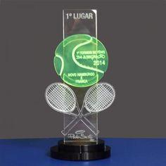Troféu 1° Torneio de Tênis da Integração. Troféu em acrílico, com aplique de acrílico em Neon verde. #FrancaPlacas #Troféu #Acrílico #Neon #TorneioDeTênis #Contato #(16)37274300