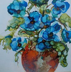 Alcohol Ink Art - Feeling Blue by Lynn Callahan