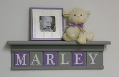 "Personalized Children Purple Grey Nursery Decor Sign on 24"" Shelf - 6 Wooden Plaques Soft Gray and Lavender - MARLEY."