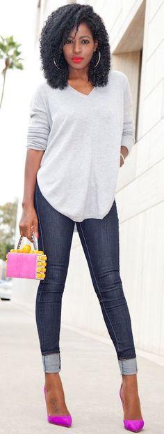 Dark Rinse Jeans Oversize V-neck Knit Fall Street Style Inspo by Style Pantry