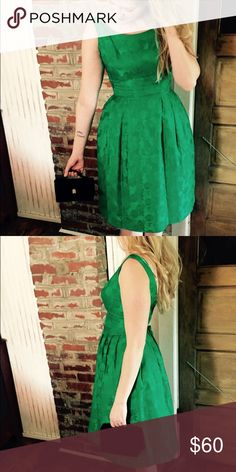 Get the look Vtg bright green floral party dress This gorgeous vintage number is ready for any occasion from holiday events to weddings to homecoming. Purse and black satin lace up vintage heels are available as well. Vintage Dresses