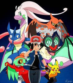 Ash and his Kalos team
