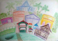 Sketch of Boqueron, Cabo Rojo, Puerto Rico by Melissa Fassel Dunn melissapaints.com