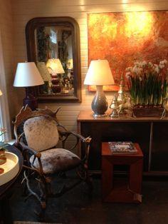 #Antler #chair with #art and #sptizmiller #lamps in #Southampton!  #mecox #interiordesign #mecoxgardens #furniture #shopping #design #decor #home #designidea #room #vintage #antiques #garden Sideboard Decor, Furniture Shopping, Garden Ornaments, Southampton, Home Furnishings, Vintage Antiques, Lamps, Outdoor Furniture, Interior Design