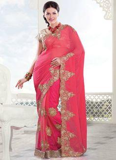 Chic #Pink #Georgette #Saree