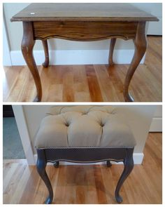 Crafty Sisters: Tufted Bench~Before and After - the exact thing I have bought things for but am too scared to start!! Yay! hb x