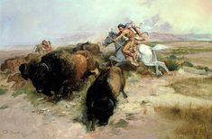 Buffalo Hunt Painting  - Charles Marion Russell