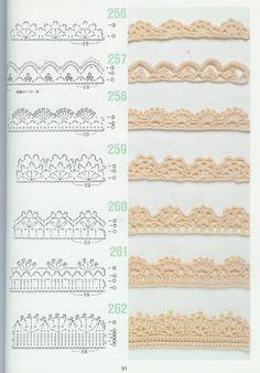 free crochet patterns for crochet borders Crochet Edging Patterns, Crochet Boarders, Crochet Lace Edging, Crochet Diagram, Crochet Chart, Crochet Designs, Lace Patterns, Crocheted Lace, Crochet Flowers