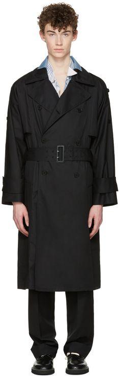 MAISON MARTIN MARGIELA Black Oversized Trench Coat. #maisonmartinmargiela #cloth #coat