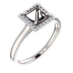 14K White 4.5x4.5mm Square .08 CTW Diamond Semi-set Engagement Ring