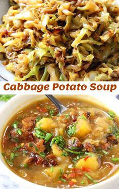A simple cabbage potato soup recipe made with just a handful of humble ingredients, done just right they will make you go back for seconds Cabbage Potato Soup, Cabbage Soup Diet, Cabbage Soup Recipes, Simple Cabbage Soup, Vegetarian Cabbage Rolls, Vegetarian Recipes, Healthy Recipes, Vegan Soups, Veggie Recipes