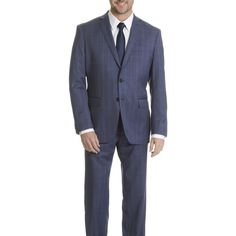 Daniel Hechter Men's Windowpane Modern Fit Suit