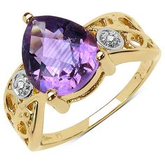 14K Yellow Gold Plated 1.64 Carat Genuine Amethyst & White Topaz .925 Sterling Silver Ring