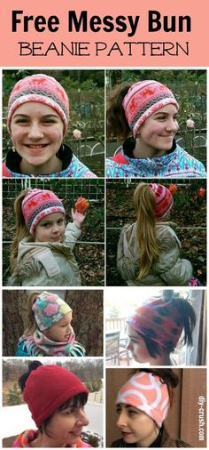 Free messy bun beanie sewing pattern. Learn how to make a messy bun beanie by watching a short video! These hats are for girls ages 6 through women!