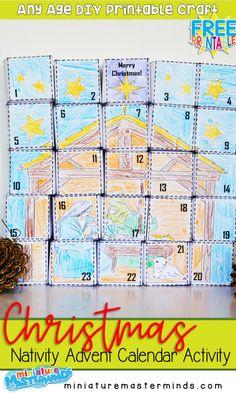 First Grade Language Arts Practice No Prep Worksheet Workbook 150+ Page Free Printable – Miniature Masterminds Nativity Advent Calendar, Advent Calendar Activities, Kids Calendar, Craft Activities, Calendar Time, Advent Calendars, Calendar 2020, Toddler Activities, Nativity Crafts