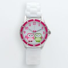 SO Silver Tone Owl and Heart Watch via Polyvore