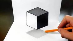 How to Draw a Levitating Cube for Kids - Easy Trick Art Easy 3d Drawing, 3d Drawing Tutorial, 3d Art Drawing, Drawing Tutorials For Kids, Art Drawings For Kids, 3d Drawings, Paper Drawing, Triangle Optical Illusion, Optical Illusions For Kids