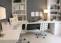 home office, white and gray, multiple workspaces