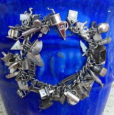 Vintage Sterling Silver Charm Bracelet 50 Charms - Yourgreatfinds, Vintage Jewelry - 1