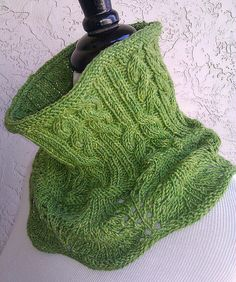 great color and style ... Cable & Lace Cowl via Ravelry