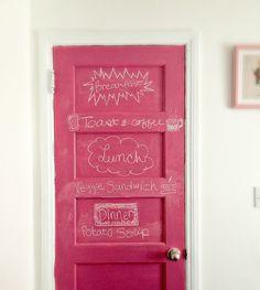 Happy Interior Blog - Pink chalkboard door!