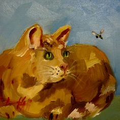 Watchful Eyes, Cat Painting, painting by artist Delilah Smith