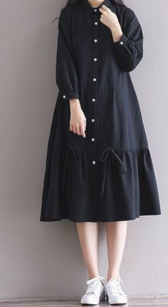 Women loose fit plus over size dress button maxi long sleeve tunic casual chic unbranded dress anyoccasion comfy but still polished Hijab Casual, Casual Chic, Boho Chic, Stylish Dresses For Girls, Simple Dresses, Casual Dresses, Loose Dresses, Muslim Fashion, Hijab Fashion