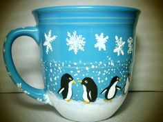 EARLY HOLIDAY SALE Penguins in the Snow  14 ounce by InkyDreamz, $8.00