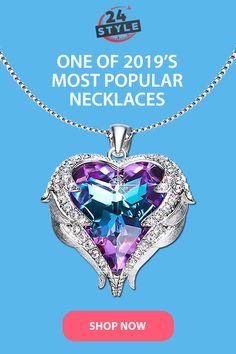 Swarovski Heart Necklace, Crystal Necklace, Swarovski Crystals, Cute Jewelry, Metal Jewelry, Wish App, Angel Wing Necklace, Ring Watch, Handmade Necklaces