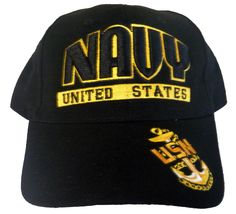 db0b32d52a8 US Navy Hat Black and Gold USN Military Baseball Cap with Naval Anchor
