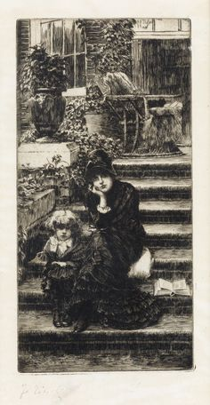 JAMES JACQUES TISSOT Rêverie. Etching on cream laid paper, 1880. 229x114 mm; 9x4 1/2 inches, full margins. Edition of approximately 100.