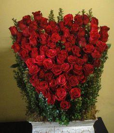 76 Red Roses Sympathy Floral Arrangement