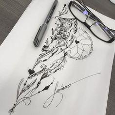 Arte criada por Luciano Tatuador. Desenho de lobo em fineline. #art #arte #tattoo #tattoo2me #desenho #tatuagem #lobo