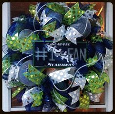 Seahawks Wreath Football Wreath Pro Football by StephsDoorDecor, $85.00