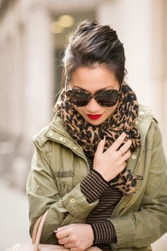 Accessories ::  -Karen Walker sunglasses,  -Stila 'Fiery' lip color, -Deborah Lippmann 'Fade to black',  -Monica Vinader rings,  -LV leopard scarf