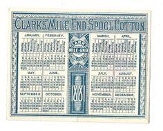 2/ 1881 Trade Card Calendar Clark's Mile End Spool Cotton Thread Women North South