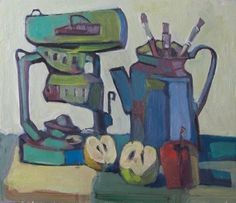 Still Life Painting with lamp ,red and green apple  and a blue kettle.oil painting , Size-14.9 inch / 16.5 inch.Free Shipping
