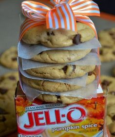 Pumpkin Spice, Chocolate Chip Pudding Cookies. Get the pudding mix now because you can only get it around Halloween and Thanksgiving!