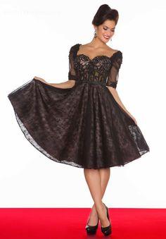 ihomecoming.com SUPPLIES Elegant Sweetheart Short Sleeves Black Lace Short A-Line Homecoming Dress Elegant
