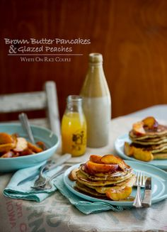 Brown butter pancakes with glazed peaches - Breakfast time!