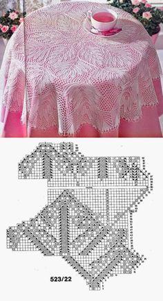 Lace Knitting Patterns, Doily Patterns, Knitting Stitches, Free Knitting, Thread Crochet, Filet Crochet, Diy Crochet, Crochet Tablecloth Pattern, Crochet Projects