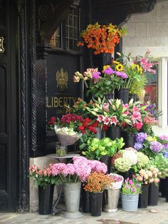 flower display outside of Liberty London, Regent Street, West End shopping district of Central London, England | Rhianna Wurman, Fine Art America