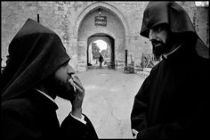 Jerusalem 1967 An Armenian-Orthodox Christian priest at David's Tower Gate (by Leonard Freed)