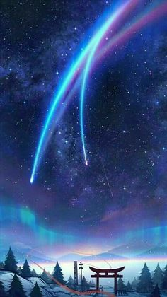 Bilder für das Wallpaper kimi no na wa # 802448 - 2006 anime collections Anime Backgrounds Wallpapers, Anime Scenery Wallpaper, Pretty Wallpapers, Animes Wallpapers, Night Sky Wallpaper, Galaxy Wallpaper, Chill Wallpaper, Iphone Wallpaper, Fantasy Art Landscapes