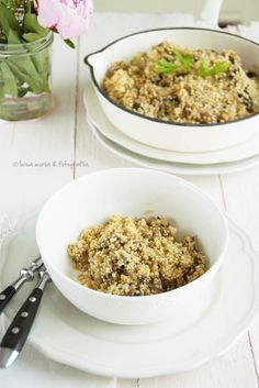 Quinoa con champiñones y cebolla caramelizada